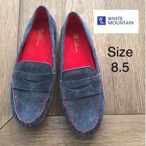 White Mountain Denim Suede Skipper Moccasin 8.5